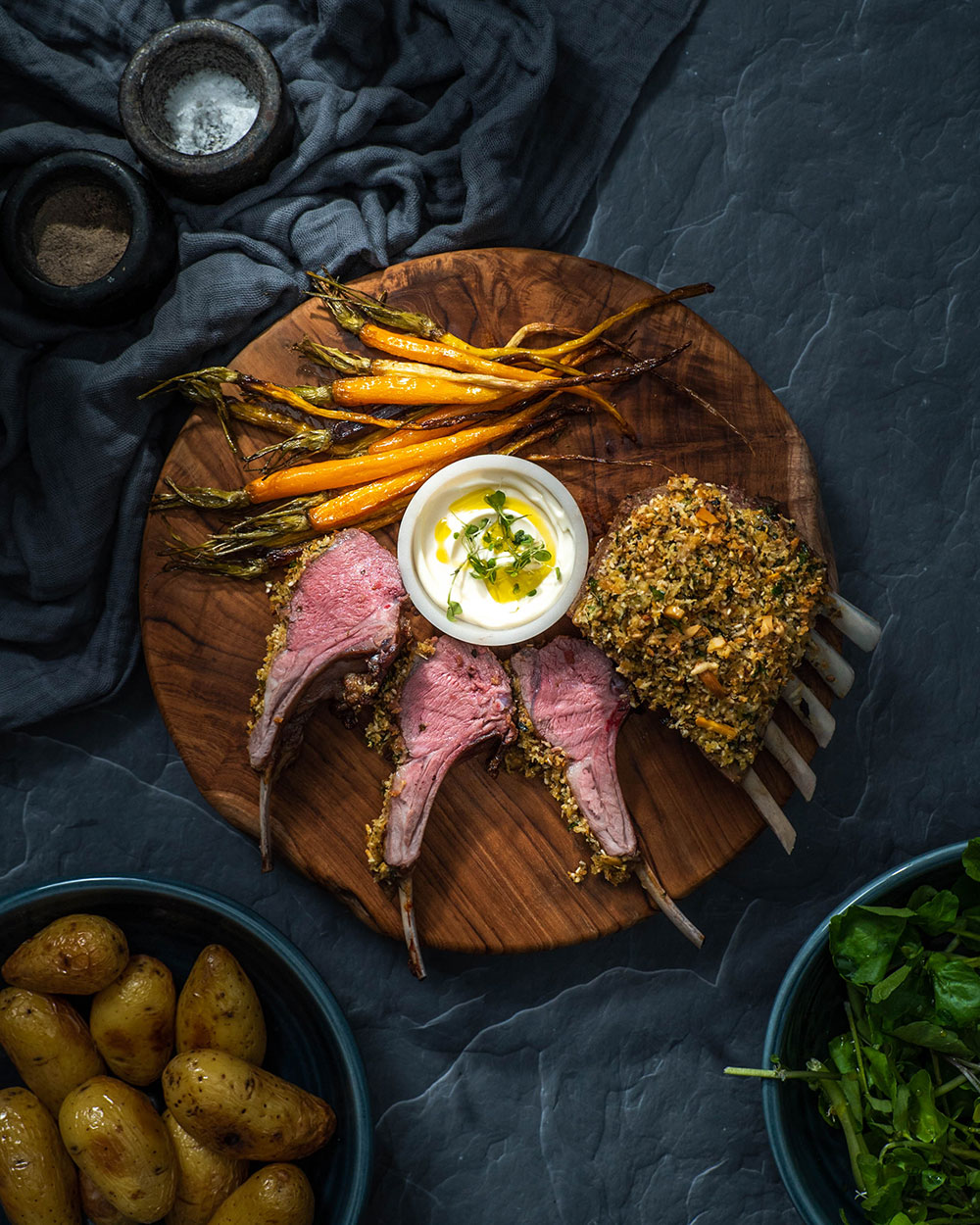 The Honest Grocer crusted lamb rack with baby carrots, potatoes and side salad