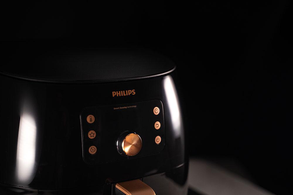Philips Premium Airfryer XXL close up on a black background