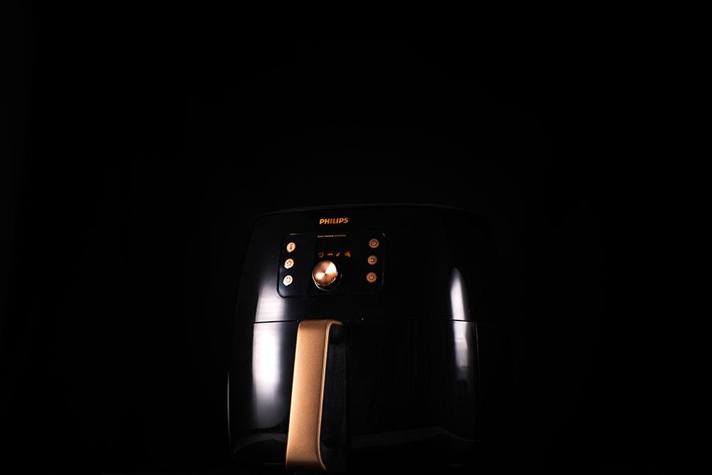 Philips Premium Airfryer XXL on a black background