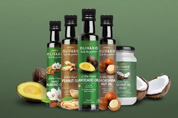 Olivado nut oil bottles and jars with avocado, coconut, almond, peanut and macadamia