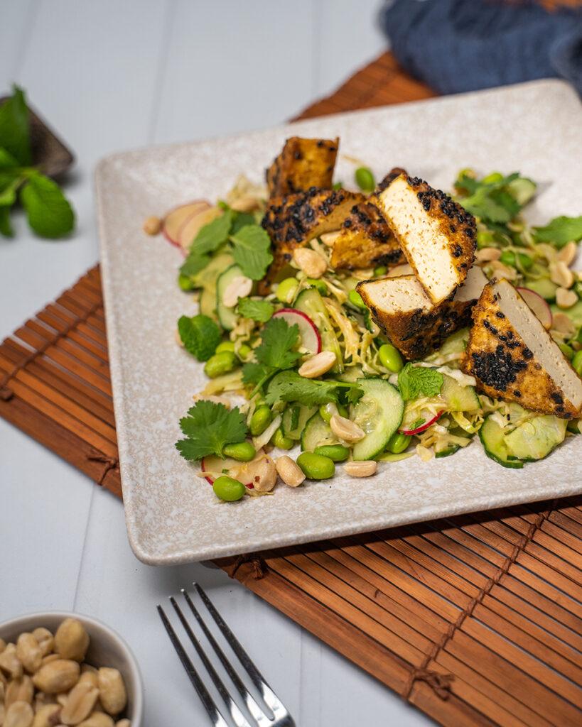 Crispy tofu on cucumber, raddish, peanuts and herbs salad with Lee Kum Kee marinade close up